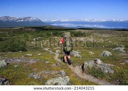 Hiker on the Trail in sweden - stock photo