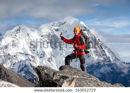 Hiker on the trek in Himalayas, Khumbu valley, Nepal - stock photo