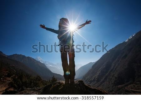 Hiker on the trek in Himalayas, Khumbu valley, Nepal - stock photo