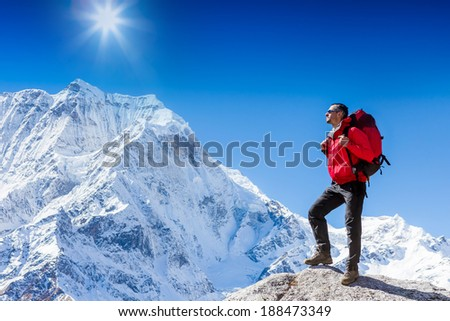 Hiker on the trek in Himalayas, Nepal