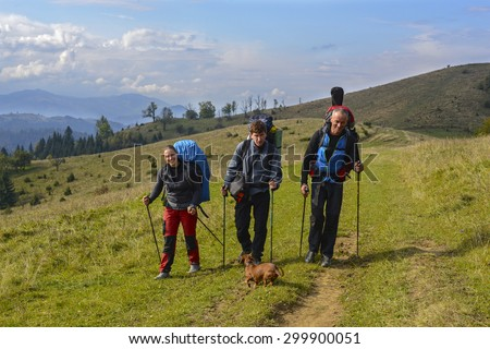 Hiker's group traveling in the wilderness of the Carpathians