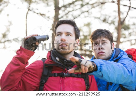 Hiker showing something to friend holding binoculars in forest - stock photo