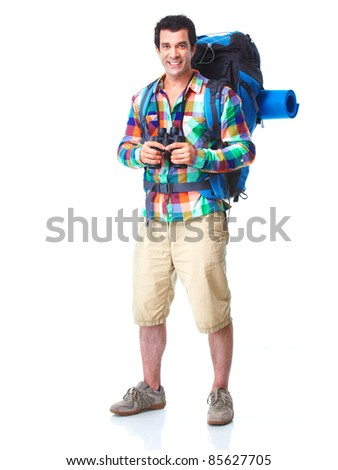 Hiker tourist man . Hiking. Isolated over white background. - stock photo