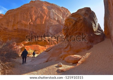 Hikers at Devils Garden Trail, Arches National Park in Utah