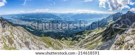 Hikers at Norkette mountain and ski area in Tyrol region, nord of Innsbruck in western Austria. - stock photo