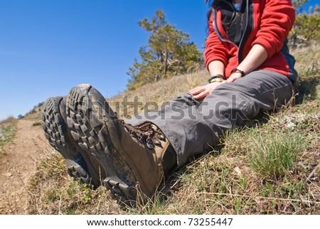 hikers feet - stock photo