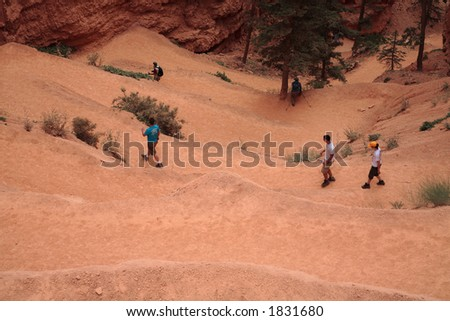 Hikers in Bryce Canyon National Park, Utah - stock photo