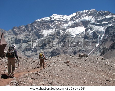Hikers in the mountain, Andes, Argentina, South America - stock photo
