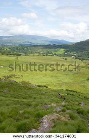 hikers route with mountain view from the kerry way walk in ireland - stock photo