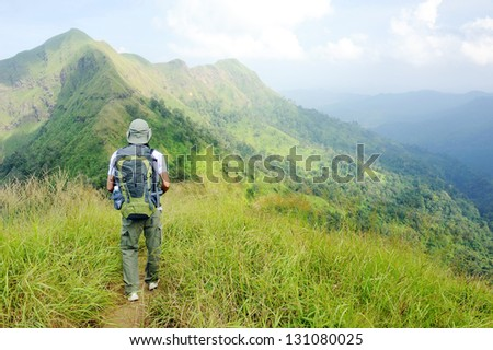 Hikers with backpacks trekking in the mountains. Thailand