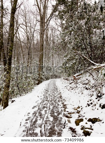 Hiking a snow covered path in the Smoky Mountains in winter