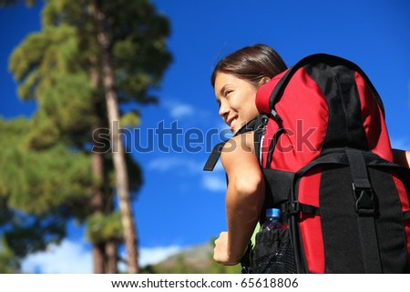 Hiking asian woman looking at view / copyspace. Tenerife, Canary Islands. - stock photo