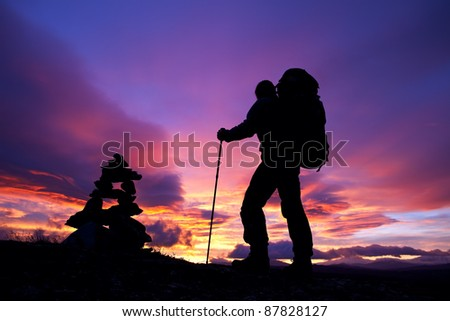 Hiking at Sunrise - stock photo