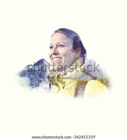 Hiking Athlete Mountain Climbing Backpack Concept - stock photo