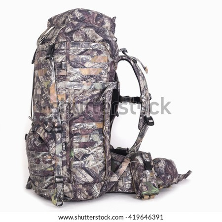 hiking backpack for hunters camouflage with side pockets on a white background.