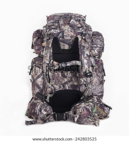 hiking backpack for hunters camouflage with side pockets on a white background. Back side.