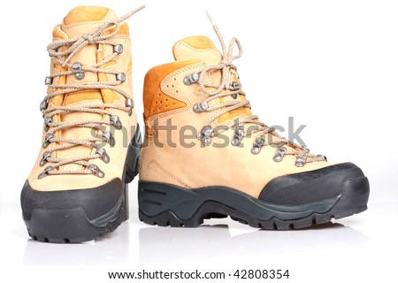 Hiking boot on a white background - stock photo