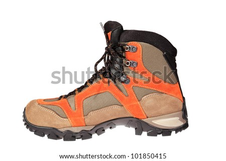 Hiking boot on the white background - stock photo