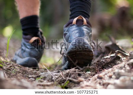 Hiking boots in outdoor action