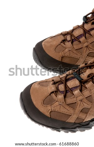 Hiking boots isolated on white background. - stock photo