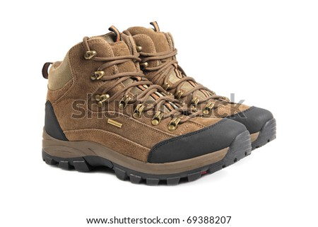 hiking boots isolated on white background - stock photo