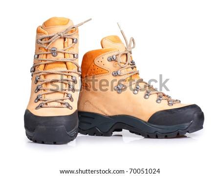 Hiking boots isolated on white background - stock photo