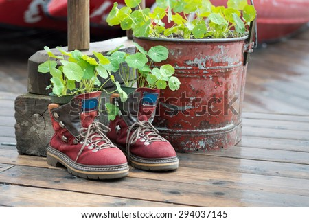 Hiking Boots Planter - stock photo