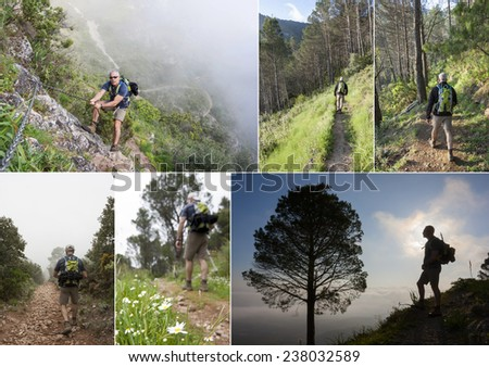 Hiking collage. Mature Man trekking in the mountain - stock photo