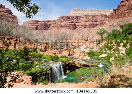 Hiking down towards the village of Supai in the Grand Canyon and you are welcomed by this beautiful oasis - stock photo