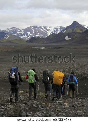 Hiking group in Iceland