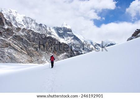 Hiking group on a trail. Sagarmatha National Park, Nepal, Himalayas - stock photo