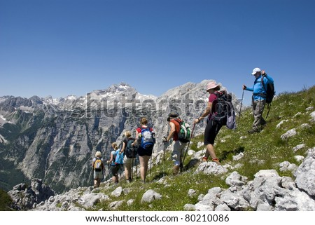 Hiking group on mountain pasture - stock photo
