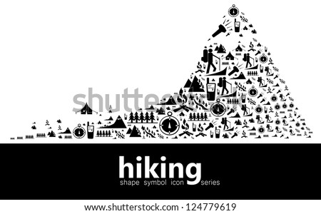 Hiking icon symbols composed in the shape of mountain trail with base camp