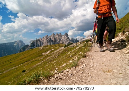 Hiking in dolomites mountains