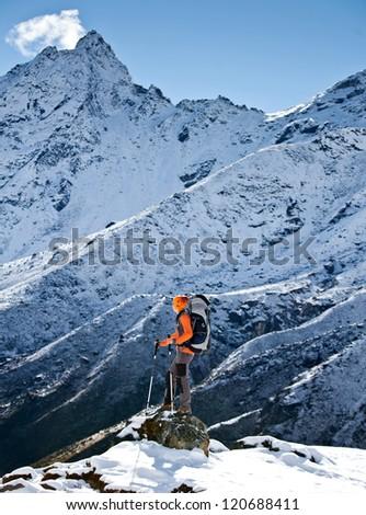 Hiking in Himalaya mountains - stock photo