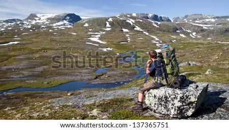Hiking in Norway - Hardangervidda national park - stock photo