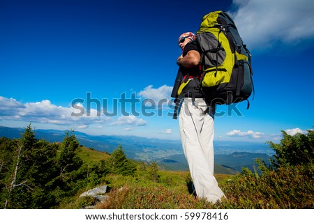 Hiking in the Carpathian mountains - stock photo