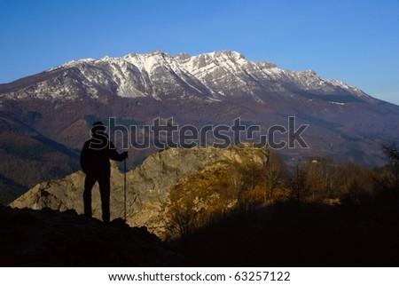 Hiking in the Natural Park Sierra de Aizkorri, Euskadi - stock photo