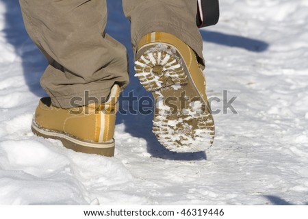 Hiking in the snow - stock photo