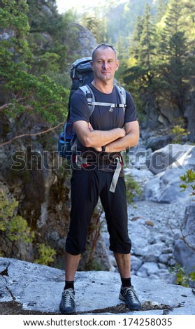 Hiking in Turkey. Lycian Way. Hiker in the canyon - stock photo