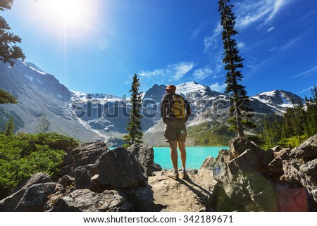 Hiking man in the mountains - stock photo