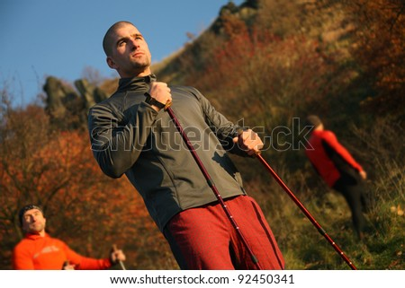 Hiking man -outdoor in forest - stock photo