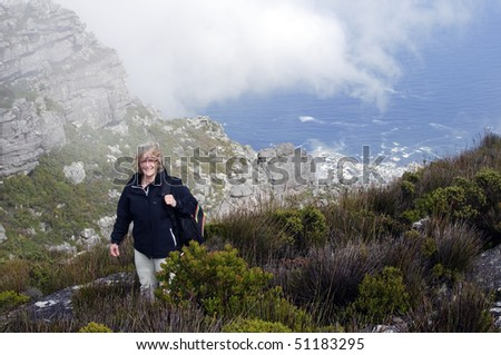 Hiking over Cape town - stock photo