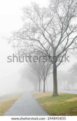 Hiking pat in fog - stock photo
