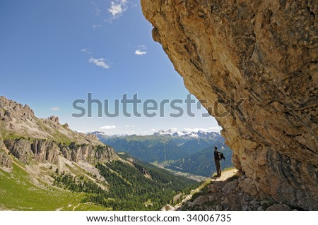 Hiking path at the foot of the Rosengarten, Dolomites, Alps, Italy - stock photo