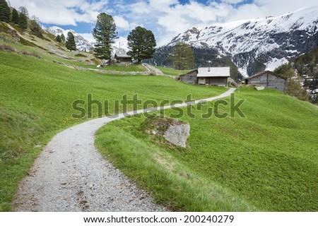 Hiking path From Furi to Zermatt, Switzerland. - stock photo