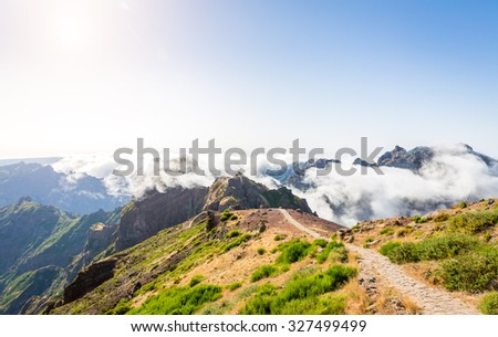 Hiking path in mountains, Madeira - stock photo