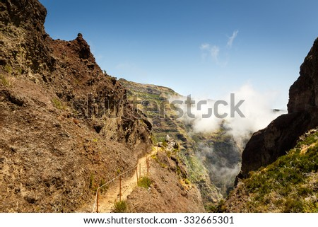 Hiking path in mountains, Portugal - stock photo