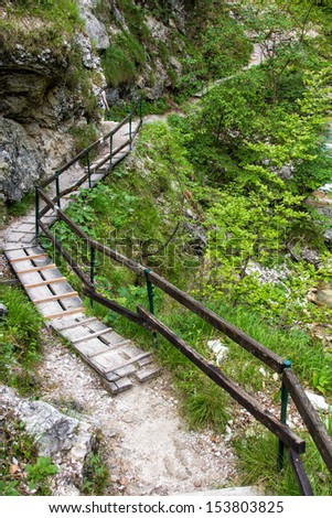 Hiking path in the Austria, Tscheppaschlucht, Carinthia