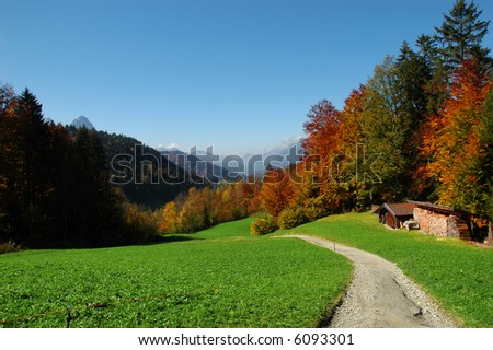 Hiking path in the mountains in Bavaria, Germany - stock photo